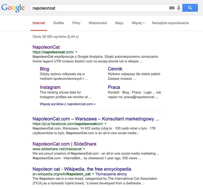 Zmiana nazwy bardzo szybko przyniosła pozytywne wyniki, przede wszystkim w ruchu organicznym na domenę napoleoncat.com, w wynikach wyszukiwania oraz w efektywności działań w oparciu o monitoring mediów.